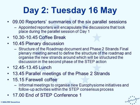 © 2006 STEP Consortium Day 2: Tuesday 16 May 09.00 Reporters' summaries of the six parallel sessions –Appointed reporters will encapsulate the discussions.