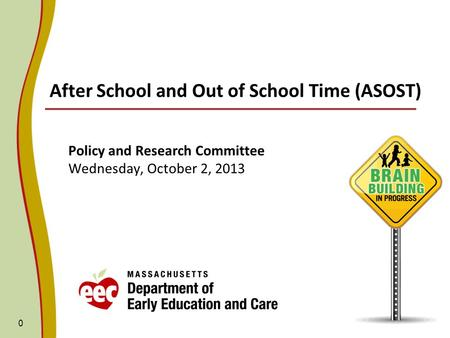 After School and Out of School Time (ASOST) Policy and Research Committee Wednesday, October 2, 2013 0.