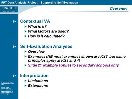 FFT Data Analysis Project – Supporting Self Evaluation  Fischer Family Trust / Fischer Education Project 2005. Extracts may be reproduced for non commercial.