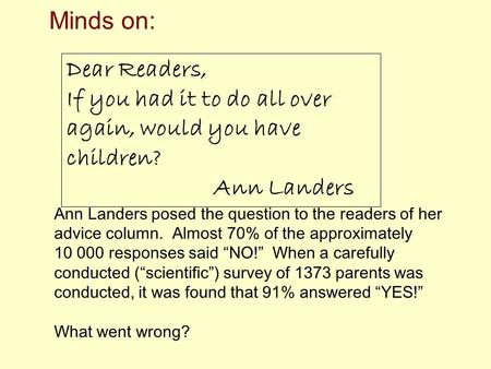 Dear Readers, If you had it to do all over again, would you have children? Ann Landers Ann Landers posed the question to the readers of her advice column.