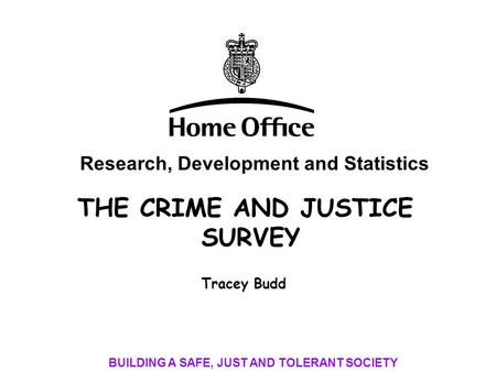 THE CRIME AND JUSTICE SURVEY Research, Development and Statistics BUILDING A SAFE, JUST AND TOLERANT SOCIETY Tracey Budd.