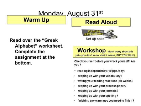 Monday, August 31st Warm Up Read Aloud