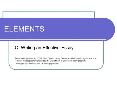 Elements of an effective thesis statement