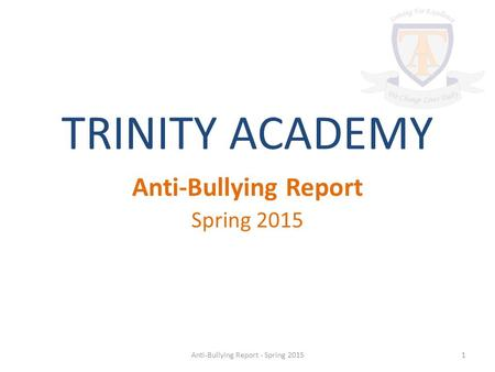 TRINITY ACADEMY Anti-Bullying Report Spring 2015 1Anti-Bullying Report - Spring 2015.