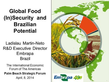 Global Food (In)Security and Brazilian Potential Ladislau Martin-Neto R&D Executive Director Embrapa Brazil The International Economic Forum of The Americas.