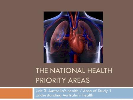 THE NATIONAL HEALTH PRIORITY AREAS Unit 3: Australia's health / Area of Study 1 Understanding Australia's Health.