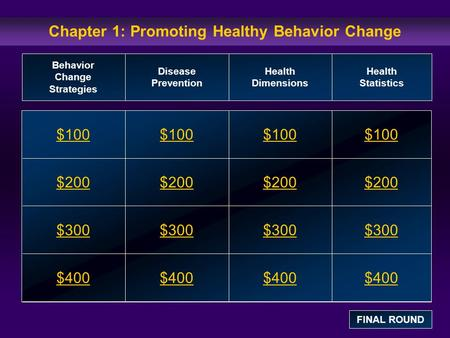 Chapter 1: Promoting Healthy Behavior Change $100 $200 $300 $400 $100$100$100 $200 $300 $400 Behavior Change Strategies Disease Prevention Health Dimensions.