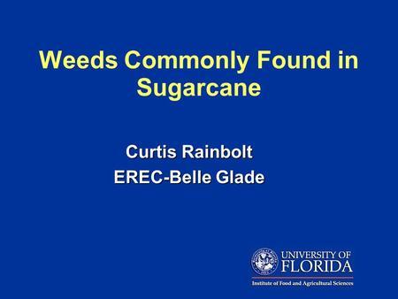 Curtis Rainbolt EREC-Belle Glade Weeds Commonly Found in Sugarcane.