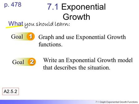7.1 Exponential Growth p. 478 What you should learn: Goal 1