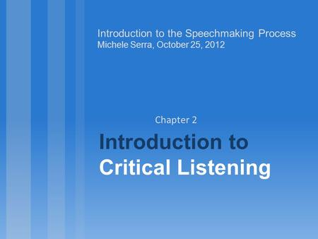 Introduction to Critical Listening