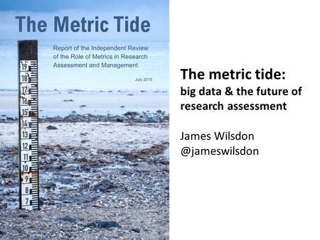 The metric tide: big data & the future of research assessment James