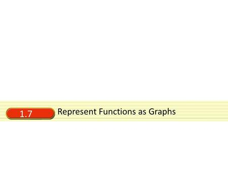 1.7 Represent Functions as Graphs. Vocabulary Relation — an pairing of a set of inputs with a set out outputs (includes functions)