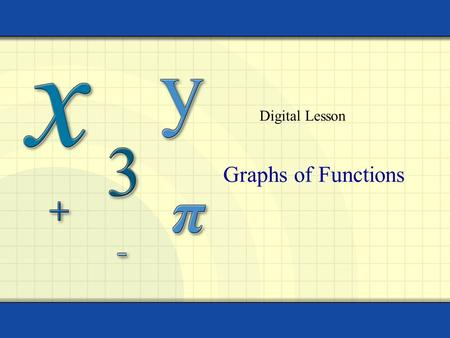 Graphs of Functions Digital Lesson. Copyright © by Houghton Mifflin Company, Inc. All rights reserved. 2 The graph of a function y = f (x) is a set of.