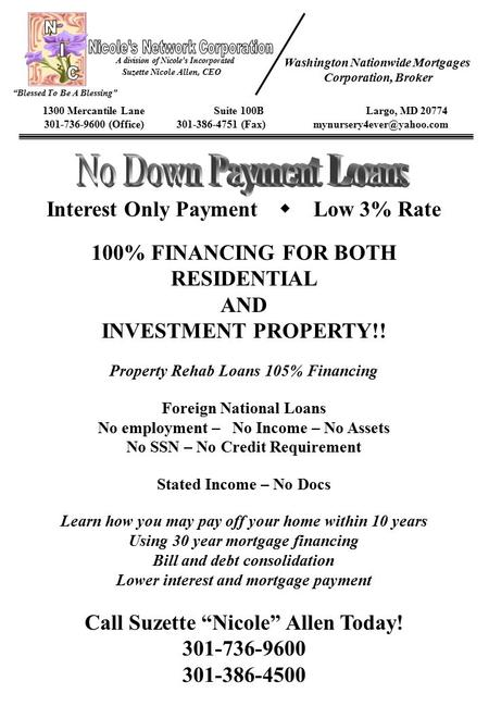 Interest Only Payment  Low 3% Rate 100% FINANCING FOR BOTH RESIDENTIAL AND INVESTMENT PROPERTY!! Property Rehab Loans 105% Financing Foreign National.