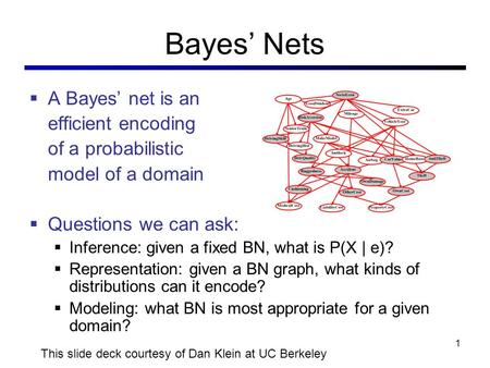 Bayes' Nets  A Bayes' net is an efficient encoding of a probabilistic model of a domain  Questions we can ask:  Inference: given a fixed BN, what is.
