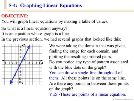 5-4: Graphing Linear Equations