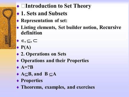 ⅠIntroduction to Set Theory 1. Sets and Subsets