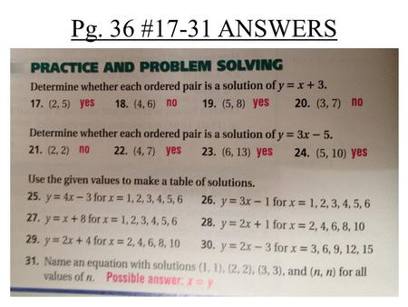 Pg. 36 #17-31 ANSWERS. Pre-Algebra 1-8 Graphing on the Coordinate Plane Pre-Algebra 1-8 Graphing on the Coordinate Plane Pre-Algebra: 1-8 HW Page 40.