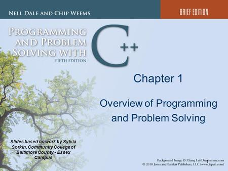 1 Chapter 1 Overview of Programming and Problem Solving Slides based on work by Sylvia Sorkin, Community College of Baltimore County - Essex Campus.
