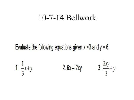10-7-14 Bellwork. Objective 1 The student will be able to: graph ordered pairs on a coordinate plane.