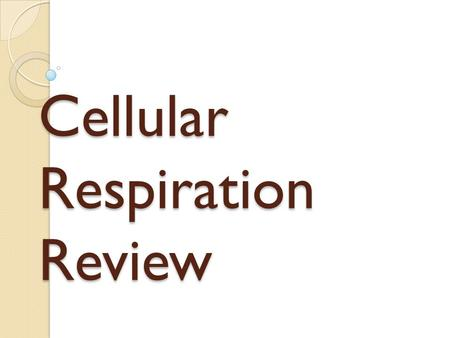 Cellular Respiration Review. Notes You may use your notes on the test. Whether or not you use them you will turn them in with your test on Wed.