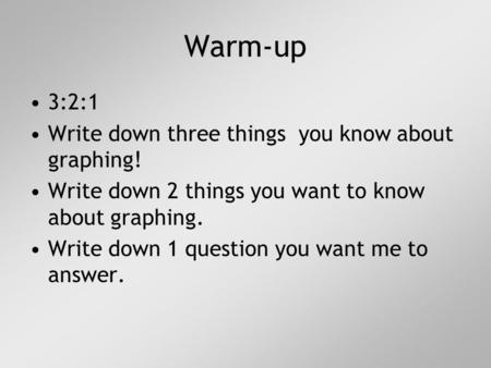 3:2:1 Write down three things you know about graphing! Write down 2 things you want to know about graphing. Write down 1 question you want me to answer.