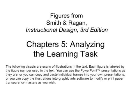 Figures from Smith & Ragan, Instructional Design, 3rd Edition Chapters 5: Analyzing the Learning Task The following visuals are scans of illustrations.