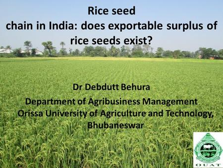 Rice seed chain in India: does exportable surplus of rice seeds exist? Dr Debdutt Behura Department of Agribusiness Management Orissa University of Agriculture.