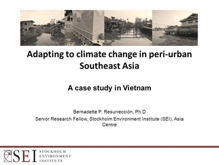 Bernadette P. Resurrección, Ph.D Senior Research Fellow, Stockholm Environment Institute (SEI), Asia Centre Adapting to climate change in peri-urban Southeast.