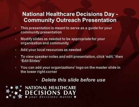 National Healthcare Decisions Day - Community Outreach Presentation This presentation is meant to serve as a guide for your community presentation Modify.