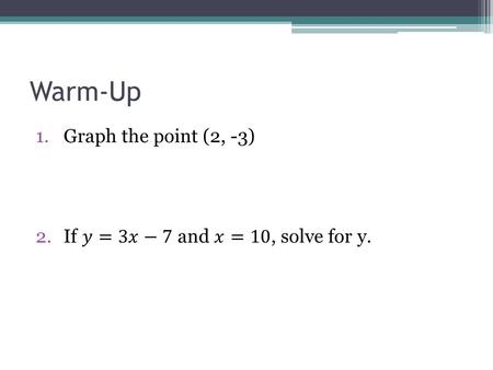Warm-Up Graph the point (2, -3) If