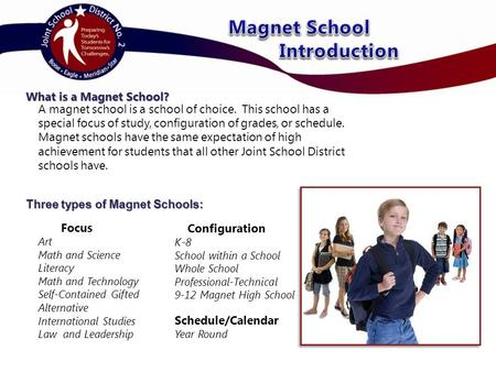 What is a Magnet School? Three types of Magnet Schools: A magnet school is a school of choice. This school has a special focus of study, configuration.