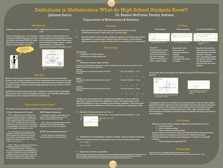 Definitions in Mathematics: What do High School Students Know? Julianne SaccoDr. Sharon McCrone, Faculty Advisor Department of Mathematics & Statistics.