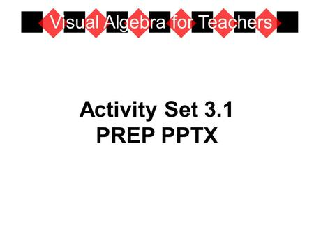 Activity Set 3.1 PREP PPTX Visual Algebra for Teachers.
