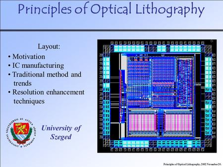 Principles of Optical Lithography