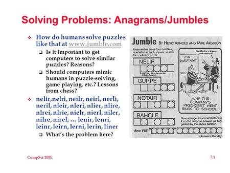 CompSci 100E 7.1 Solving Problems: Anagrams/Jumbles  How do humans solve puzzles like that at www.jumble.comwww.jumble.com  Is it important to get computers.