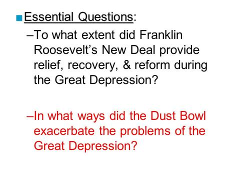How did roosevelt s new deal try