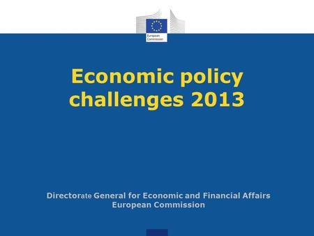 Economic policy challenges 2013