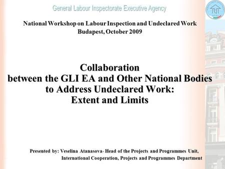 National Workshop on Labour Inspection and Undeclared Work Budapest, October 2009 Collaboration between the GLI EA and Other National Bodies to Address.