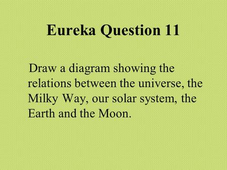 Eureka Question 11 Draw a diagram showing the relations between the universe, the Milky Way, our solar system, the Earth and the Moon.