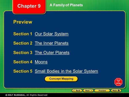 Chapter <strong>9</strong> A Family of Planets Section 1 Our <strong>Solar</strong> SystemOur <strong>Solar</strong> <strong>System</strong> Section 2 The Inner PlanetsThe Inner Planets Section 3 The Outer PlanetsThe Outer.