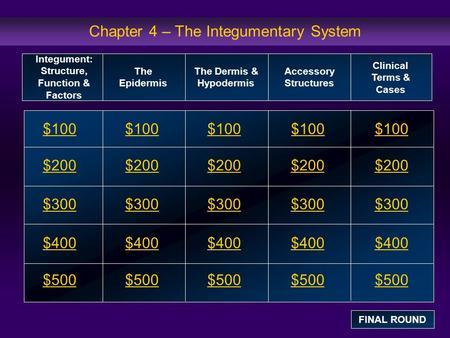 Chapter 4 – The Integumentary System $100 $200 $300 $400 $500 $100$100$100 $200 $300 $400 $500 Integument: Structure, Function & Factors The Epidermis.