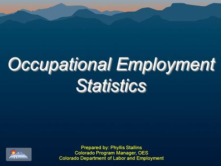 Occupational Employment Statistics Prepared by: Phyllis Stallins Colorado Program Manager, OES Colorado Department of Labor and Employment.