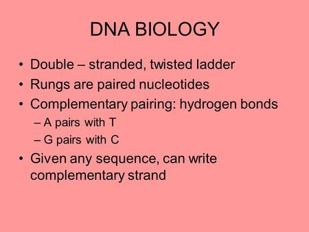 DNA BIOLOGY Double – stranded, twisted ladder Rungs are paired nucleotides Complementary pairing: hydrogen bonds –A pairs with T –G pairs with C Given.