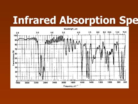 Infrared Absorption Spectroscopy. IR Spectroscopy deal with the interaction of infrared radiation with matter IR spectrum (%T against Frequency) chemical.