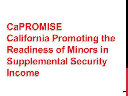 1. WHAT IS PROMISE Joint initiative of the U.S. Department of Education, the U.S. Social Security Administration, the U.S. Department of Health and Human.