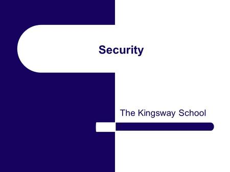 Security The Kingsway School. Accidental Data Loss Data can be lost or damaged by: Hardware failure such as a failed disk drive Operator error e.g. accidental.