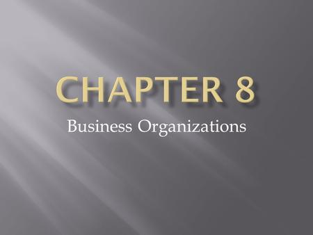 Business Organizations. Starting a Business  Entrepreneurs : people who decide to start a business and are willing to take risks  Entrepreneurs should.