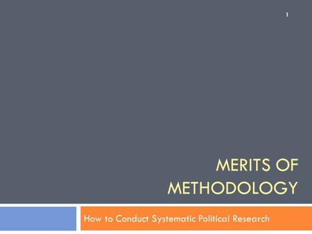 How to Conduct Systematic Political Research