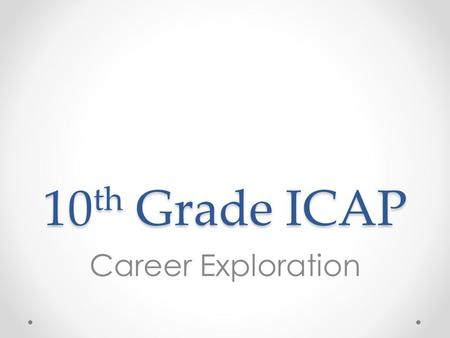 10 th Grade ICAP Career Exploration. Overview 1.Review Colorado Career Cluster Model 2.Review 8 th grade survey results (CIC) 3.Complete Colorado Career.